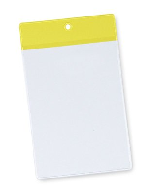 4'' x 6'' Non-Glare Vinyl Tag Holder with Yellow Flap and Hang Hole (8 Gauge) (50 Tag Holders) - AB-99-6-02Y
