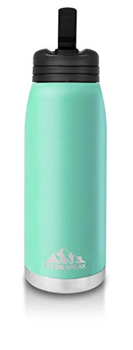 Hydrapeak Flow 1L (32oz) Water Bottle BPA-Free Leak-Proof Double-Walled Copper Coated Stainless-Steel Insulated Vacuum Flask with Integrated Bite Value Straw and Crook Finger Handle (Aqua, 32oz)