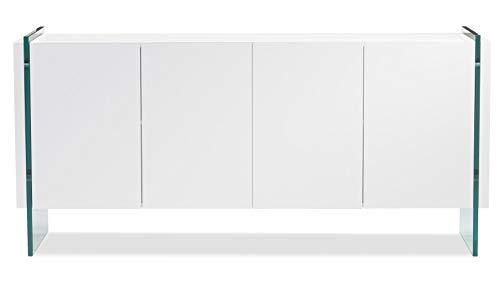Zuri Furniture Art White High Gloss Cabinet (White Lacquer Buffet Sideboard)