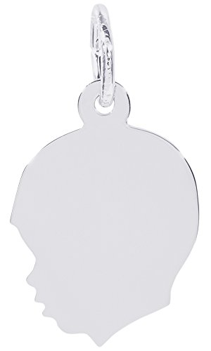 Rembrandt Charms, Small Boy Silhouette, 14K White Gold, Engravable by Rembrandt Charms