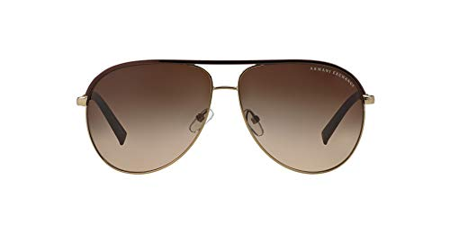 Armani Exchange Metal Unisex Sunglass Aviator, LIGHT GOLD/DARK BROWN, 61 mm