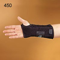 Constructed of orthopedic felt, providing support and comfort. Anatomically contoured to provide secure fit. Brass eyelets and sturdy lacing pull provide unique and easy application. Stockinette tongue provides secure assist during application. Useful for carpal tunnel, sprains, strains and after cast removal. Position of moveable dorsal stay can be adjusted for desired amount of upward hand movement. One Size Fits All.
