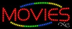 Movies LED Sign - 11 x 27 x 1 inches - Made in USA