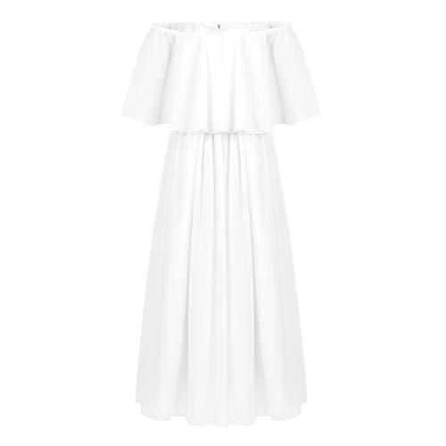 dPois Big Girls' Off-Shoulder Princess Long Dress Wedding Pageant Birthday Party Chiffon Maxi Dresses White 12