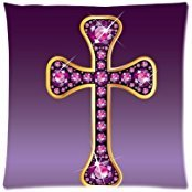 Home Decor Personalized Stunning Christian Cross with Garnet Picture Zippered Throw Pillow Cover Cushion Case 16x16 (one side) ()