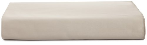 Calvin Klein Home Solid Sateen Pearl Edge King Flat Sheet, Bisque ()