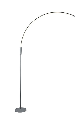 LED Arc Floor Lamp Curved Contemporary Minimalist Lighting Design for Living Room (Grey) Crescent Fine China
