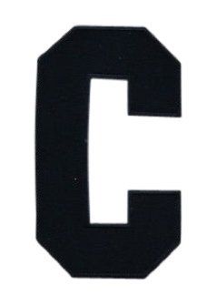 Hockey Style Patch BLACK C Patch (Captain) Iron On for Jersey Football, Baseball. Soccer, Hockey, Lacrosse, Basketball ()