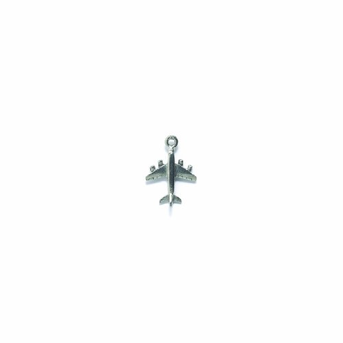 Shipwreck Beads Pewter Jet Plane Charm, Metallic, Silver, 15 by 20mm, 4-Piece (Pewter Plane)
