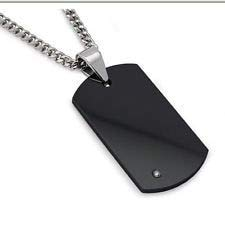 BeesClover Unique Men's Black Tungsten Carbide Dog Tag with Steel tag Custom Stainless Steel Engraved Dog tag Show
