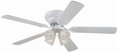 Westinghouse 7871500 Contempra IV Four-Light 52-Inch Five-Blade Indoor Ceiling Fan, White with Frosted Ribbed-Glass Shades (15 White Ribbed Glass)