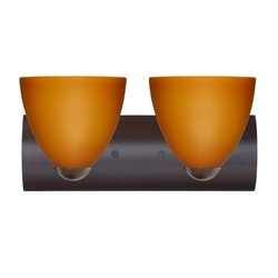 Besa Lighting 2WZ-757280-BR 2X75W A19 Sasha II Wall Sconce with Amber Matte Glass, Bronze Finish - 757280 Br Bronze Finish
