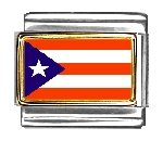 - Clearly Charming Puerto Rico Flag Italian Charm Bracelet Link