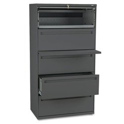 700 Series Lateral File - HON 700 Series Five-Drawer Lateral File w/Roll-Out & Posting Shelf, 36w