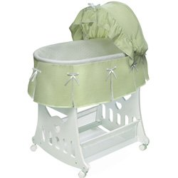 Waffle Pleated Bassinet with Toy Box Base - Color: Sage