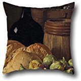 Oil Painting Luis Meléndez - Still Life With Figs And Bread Throw Cushion Covers 16 X 16 Inches / 40 By 40 Cm Best Choice For Bedding,seat,bedroom,gril Friend,gf,dance Room With Double Sides