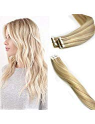 KOCONI 16 Inch Tape in Human Hair Extensions Virgin Remy Human Hair Extensions Tape In #18/613 Caramel Blonde Mixed Vibrant Blonde Highlight Ombre Tape in Extensions 25Pcs 50g Per Package