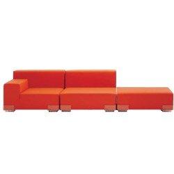 Kartell 7091/75 Plastics Duo Sofa by Piero Lissoni, Nile Fabric Grey