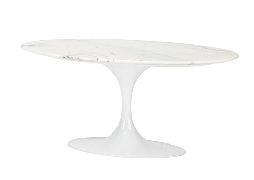 (Nuevo OVA Oval White Marble Coffee Table Living - 42