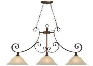 Craftmade Lighting 28073-SPZ Seville - Three Light Island, Spanish Bronze Finish with Creamy Frosted Glass