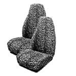 Set of 2 Universal-Fit Animal Print Front Bucket SUV Truck Seat Cover w/Arm Rest Opening - Cheetah Black and White