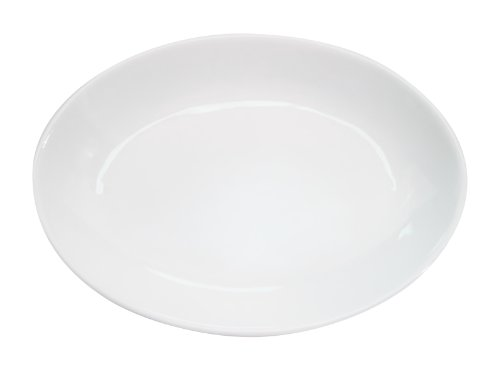 CAC China RCN-102 Clinton Rolled Edge 15-1/2-Inch by 11-Inch by 2-Inch Super White Porcelain Deep Oval Platter, Box of 12