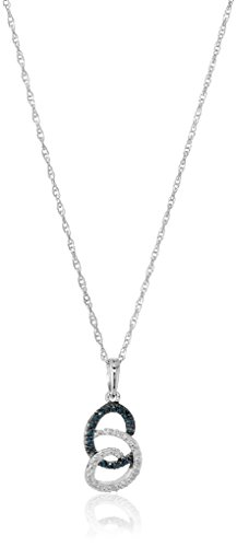 Swirl Necklace (Sterling Silver Blue and White Diamond Swirl Pendant Necklace (1/10 cttw, I-J Color, I2-I3 Clarity), 18