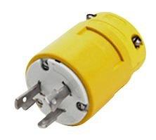 Woodhead 2808 Super-Safeway Plug, Industrial Duty, Locking Blade, 3 Poles, 3 Wires, Rubber, Yellow, 30A Current, 250V Voltage by Woodhead