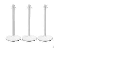Plastic Floor Stanchions with Base in White, (Package of 3)