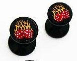 Oreille-clous, en acrylique noir avec dés-flamés; 6mm