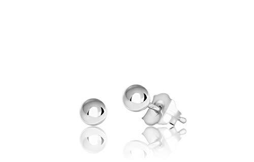 14K White Gold Ball Stud Earrings (3mm - White Gold)