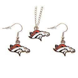 NFL Denver Broncos Logo Dangle Earrings and Pendant Necklace Set, Team Color