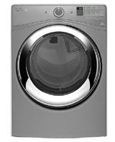 WHIRLPOOL WASHERS & DRYERS 2490343 Duet 7.3 cu.ft. Fa Load Electric Steam Dryer, Chrome Shadow, 9 Cycles
