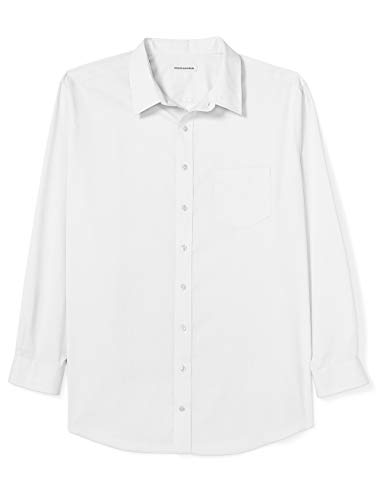 (Amazon Essentials Men's Big & Tall Wrinkle-Resistant Long-Sleeve Solid Dress Shirt, White, 19