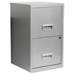 Pierre Henry Filing Cube Cabinet Steel Lockable 2 Drawers A4 W400xD400xH660mm Silver - Ref 595000