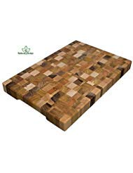 Cutting Board 18 x 12 x 1.6 inch End Grain Chopping Block Wood: Cherry Oak Canadian Oak Ash-tree Walnut Beech Hardwood Extra Thick Durable & Resistant ()
