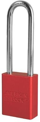 American Lock Red Padlock With 1 1/2'' Solid Aluminum Body 3'' Shackle (Keyed Differently)