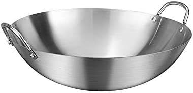 Tent Binaural Wok Stainless Steel Binaural Wok, Uncoated Non-Stick Wok Wok, for Gas Stoves, Used in Home, Kitchen