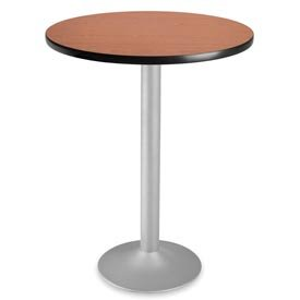 BEF3355311 - Best 30quot; Round cafe height flip-top folding table with cherry finish and silver base -