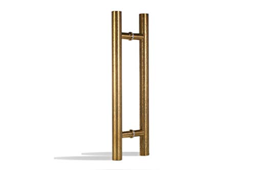 24 Inch Round Shape Bar Stainless Steel Modern Contemporary Entry Door Handle Bar Ladder Pull Shower Glass Sliding Barn Door Entrance Interior Exterior Door Pull Push Engraved Gold Plated Finish ()