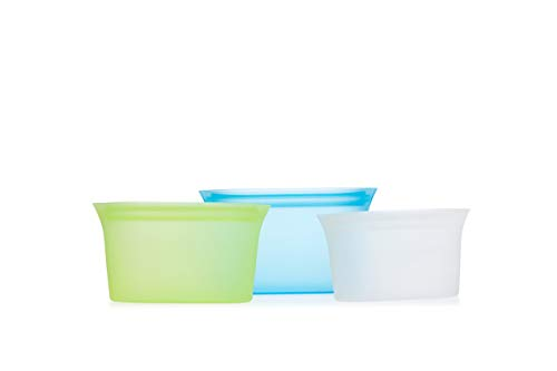 Zippware Reusable Silicone BOWL Containers, BPA Free Zip lock Food Storage Container for Sandwiches, Snacks, Sous Vide, Baby Food & Meal Prep, Microwave, Dishwasher & Freezer Safe (Blue, Medium x 2)