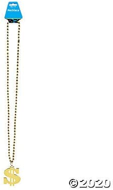 set of 12 Mardi Gras and Party Supplies Dollar Sign Gold Bead Necklaces