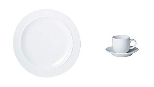 Denby White Gourmet Plate and Coffee Cup, Set of 4