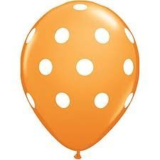12 Orange Dot Polka Dot Balloons - Made in (Orange Polka Dot Balloons)