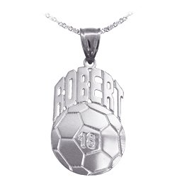 (Soccer Sport Charm Personalized with Name and Number - Sterling Silver - Made in USA)