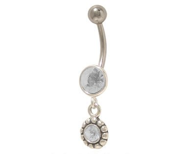 Dangler Belly Button Ring 14G Surgical Steel with Clear Jewels Belly Dangler Navel Rings
