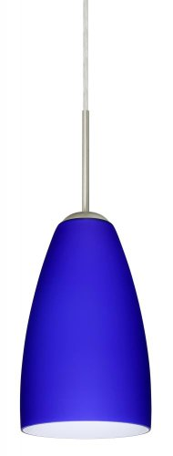 - Besa Lighting 1JT-1511CM-LED-SN 1X6W GU24 Riva 9 LED Pendant with Cobalt Blue Matte Glass, Satin Nickel Finish