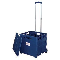 - Office Depot Mobile Folding Cart with Lid, 16in.H x 18in.W x 15in.D, Blue, 50803