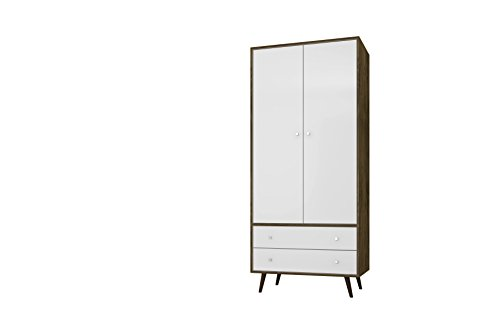 Bedroom Collection Armoire - Manhattan Comfort Liberty Collection Mid Century Modern Armoire Closet With Two Cabinets and Two Drawers, White/Wood