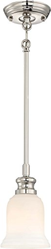 Minka Lavery Mini Pendant Ceiling Lighting 3290-613 Audrey's Point, 1-Light 100 Watts, Polished Nickel